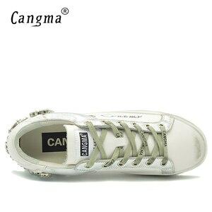Image 4 - CANGMA カジュアルシューズブランドスニーカーゴールデン女性シルバーダイヤモンドホワイトフラット革の靴クリスタルガチョウトレーナー