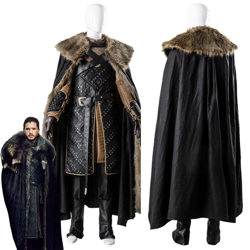 Game Of Thrones Saison 7 Jon Bataille Costume pour Adulte Hommes de Neige Cosplay Costume Homme Halloween Costumes De Fête