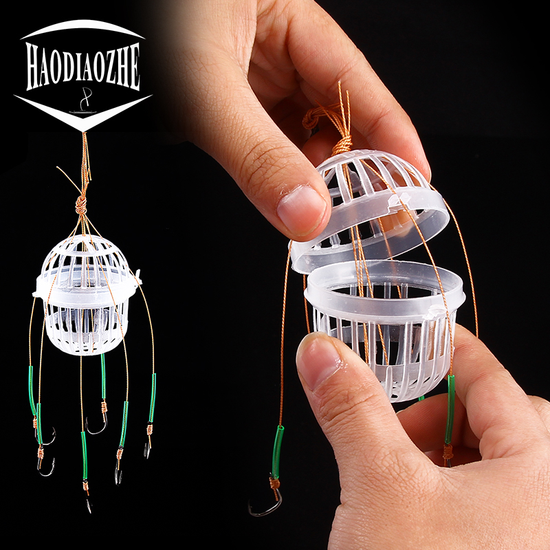 HAODIAOZHE Explosion Fishing Hooks Spherical Sea Box Monsters With Six Strong Carbon Steel Fishing Feeder Jig Accessories YU456(China)