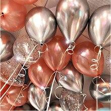 12 unids/lote de globos metalizados plateados y dorados rosas de látex para decoración del Día de San Valentín, globos de confeti para fiestas de cumpleaños