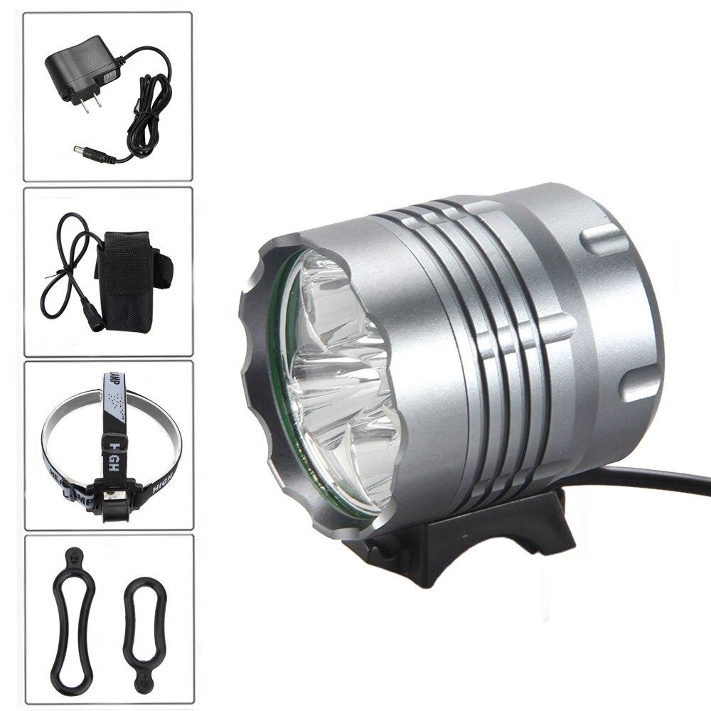 Waterproof 5000 Lm 5x XML U2 LED Bike Light 3 Modes Front Bicycle Lamp with 4x18650 6400mAh Battery Pack+Headband xml u2 светодиодные блок велосипед глава лампы свет батареи 18650