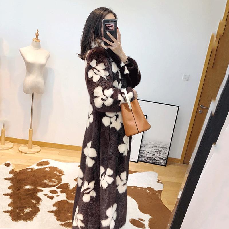 X long Importer Turn Hiver Femmes Collar Réel 2019 Manches Longues Vison Lvchi Fleur Causalité Blanche À Manteau Bleu camel Imprimer De down S qnUPwxnEH