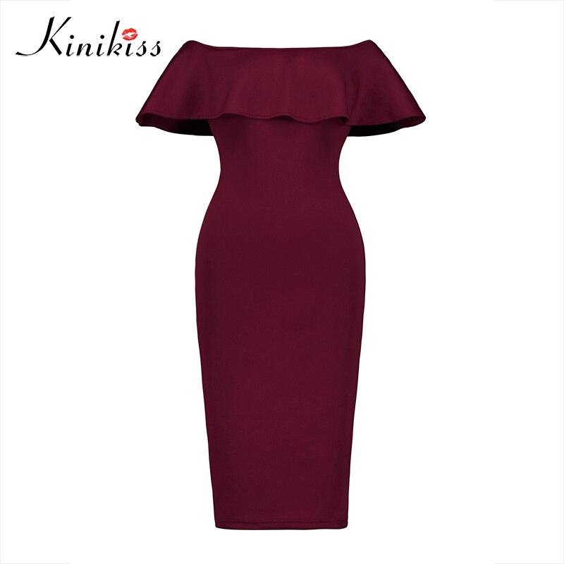Kinikiss Women Spring Bodycon Dress Ruffle Off The Shoulder Backless Party Dress Sexy Women Sleeveless Club Blue Bodycon Dress