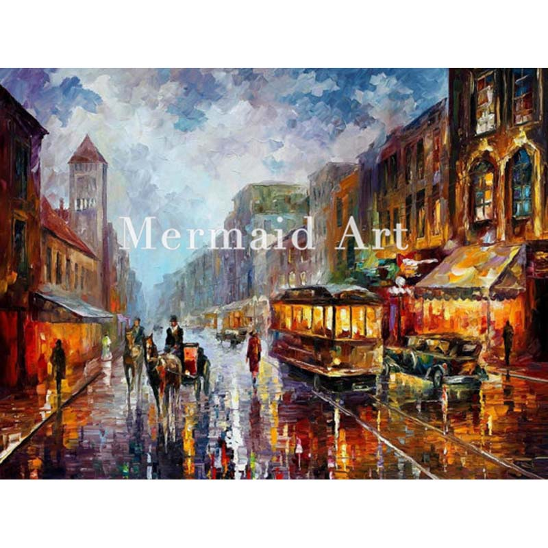 Hand Painted Landscape Abstract Palette font b Knife b font Modern Los Angeles 1925 Oil Painting