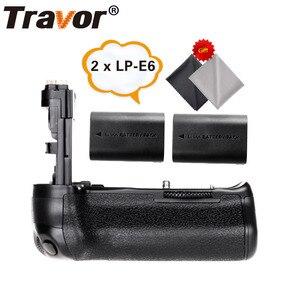 Image 1 - Travor, soporte vertical de batería para Canon 60D 60Da, reemplazo para cámara DSLR BG E9 + 2 uds., batería de LP E6 + 2 uds, paño para lente