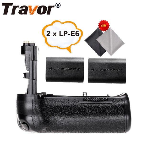 Travor, soporte vertical de batería para Canon 60D 60Da, reemplazo para cámara DSLR BG E9 + 2 uds., batería de LP E6 + 2 uds, paño para lente