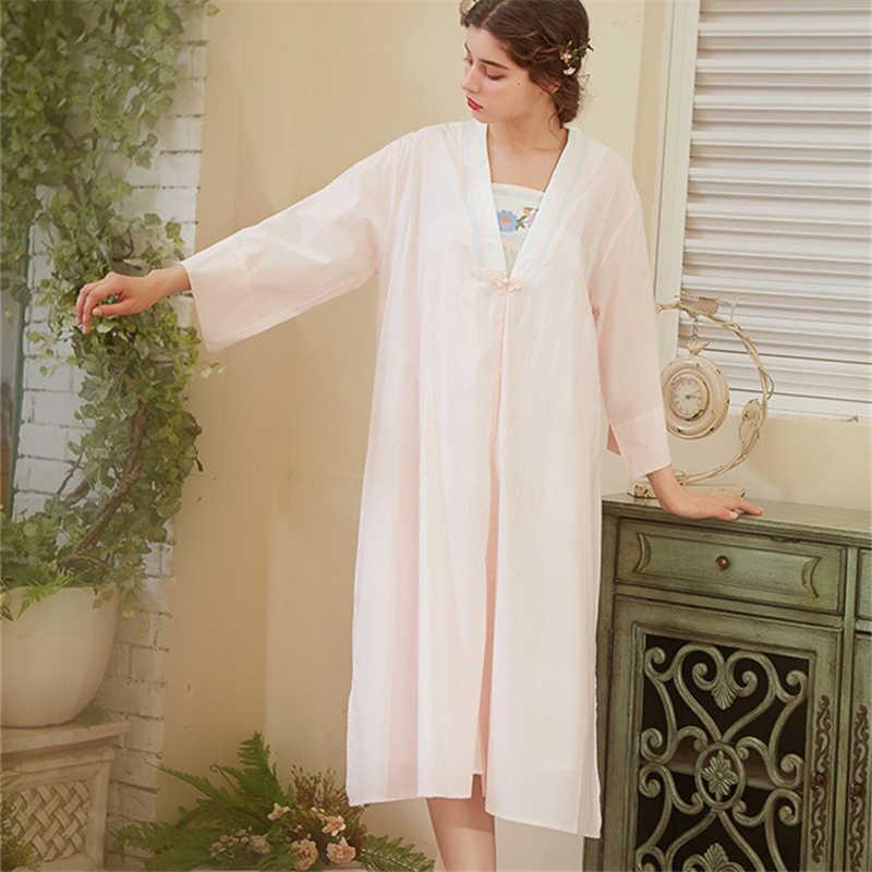 caedcfafcd8ff ... Elegant Robe Gown Set Women Sleepwear Cotton Bathrobe Peignoir Set  Vintage Nightgown Kimono Pink Negligee Autumn ...