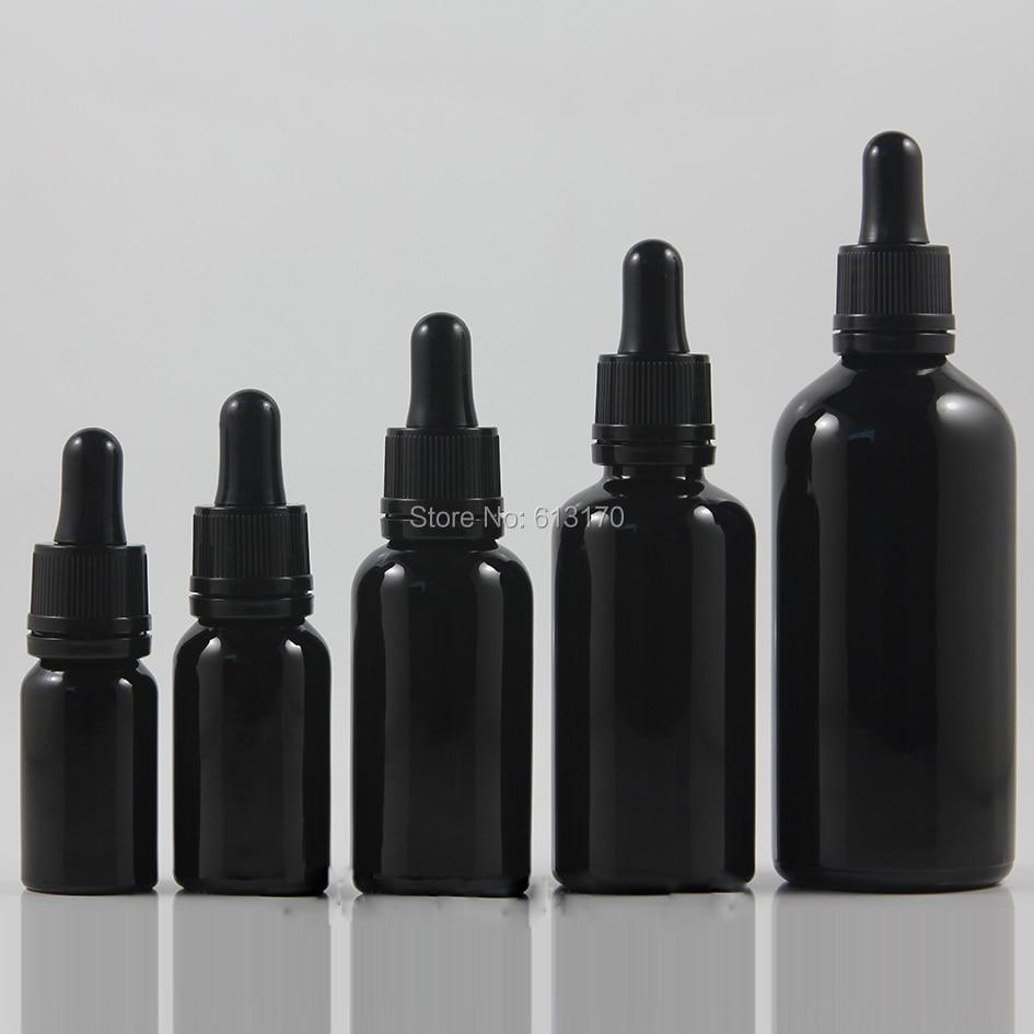 10ml 15ml 30ml 50ml 100ml Black Glass bottle With Tamper proof Dropper Empty Essential Oil Vial