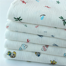 Купить с кэшбэком Cotton Crepe Fabric Wear Gauze Printing Seersucker Pants Mosquito Pajamas Fabric