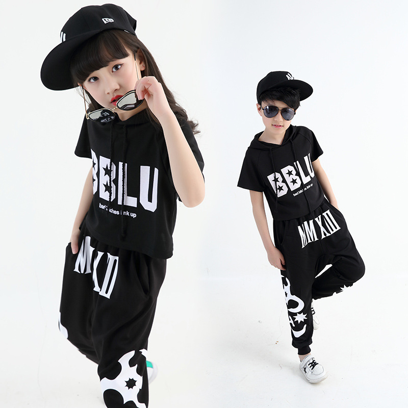Kids Modern Jazz Hip Hop Dance Competition Costumes Set Girls Short Sleeve Top Pant Wear Street Dance Costume 2Pcs H59