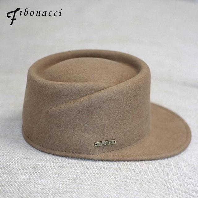 f0f62f13dd4 Fibonacci 2018 New Pork Pie Equestrian Cap Fashion Wool Felt Hat Women Men High  Quality Autumn Winter Fedora Hats