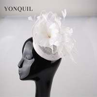 White Sinamay Fascinator base with feather flower hat women wedding hair accessories ladies party cocktail millinery headpiece