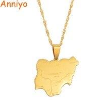 Anniyo кулон размер 2,4 см X 2,7 см/нигерийская карта кулон и ожерелья, карты стран Африки нигерийцы карты имя ювелирные изделия#008421