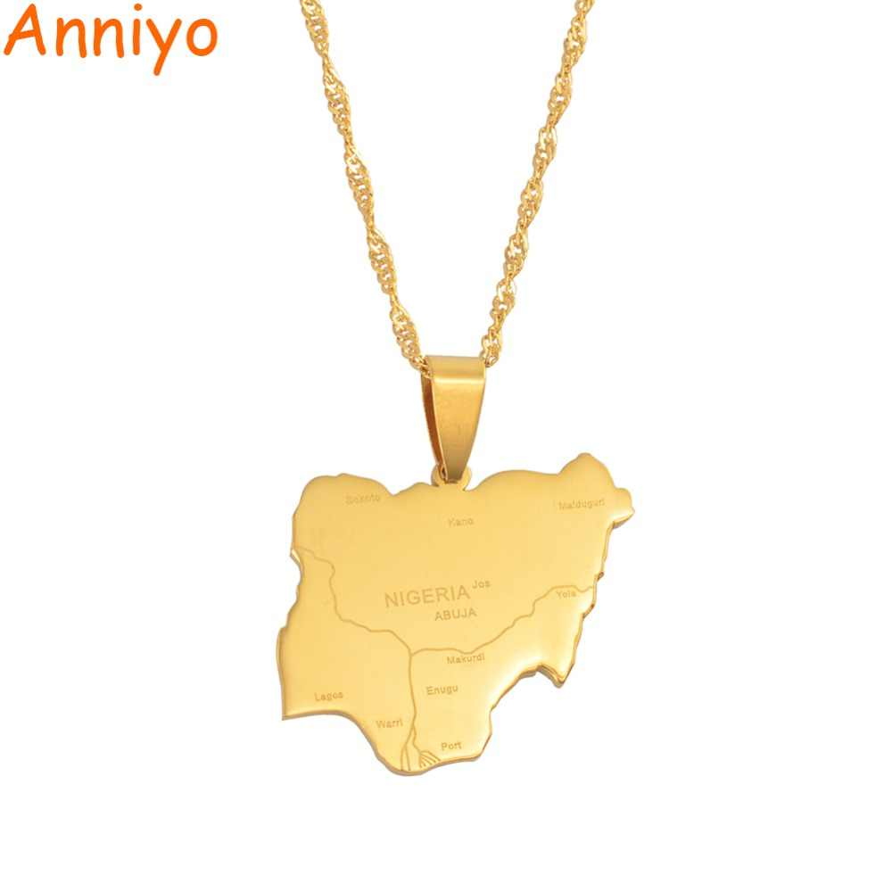Anniyo Pendant Size 2.4CM X 2.7CM / Nigeria Map Pendant & Necklaces,Country Maps Africa Nigerians Maps Jewelry #008421