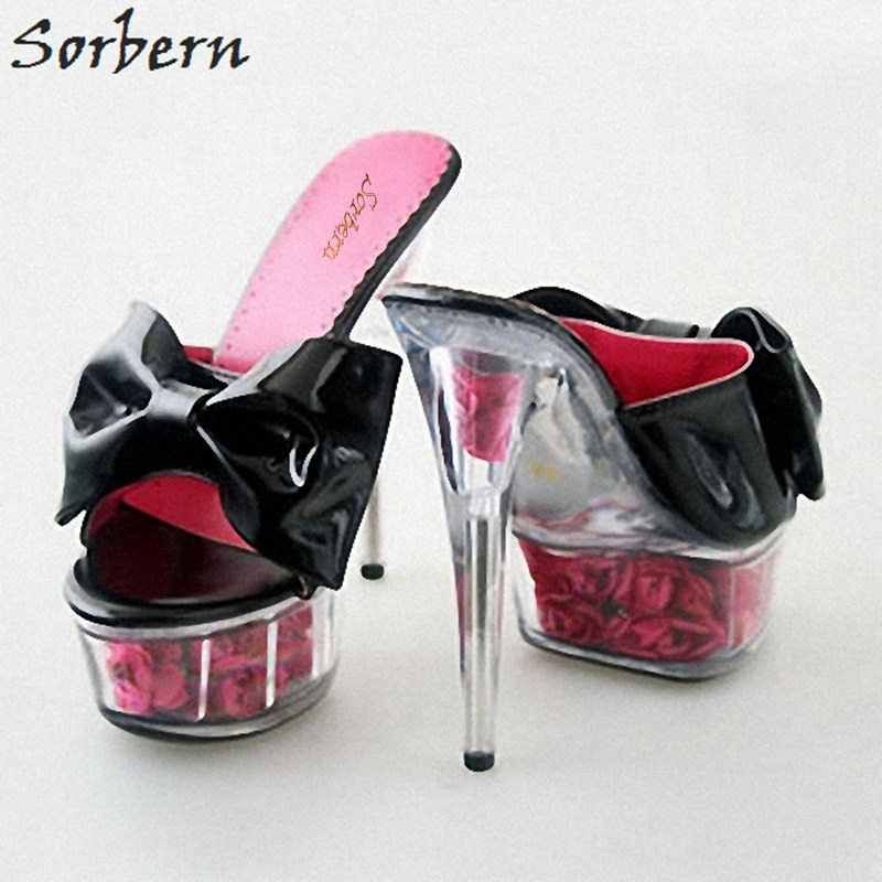 Sorbern Fashion High-Heeled Bow Decorated Slippers Women Night Club Princess Shoes Ladies Rose Ribs High Heel Slides Summer