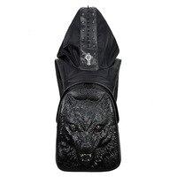 Mannen Weerwolf Hooded Rugzak Mannelijke Zwart Goud Zilver 3D Wolf Hoofd Ontwerp Dier Afdrukken Rugzak Met Kap Fashion Casual tassen