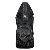 Men's Werewolf Hooded Backpack Male Black Gold Silver 3D Wolf Head Design Animal Printing Backpack With Hood Fashion Casual Bags