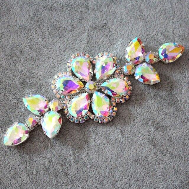 13.2 5cm Glass crystal AB rhinestone applique Silver Base Used For wedding  Dress Belt Applique Sew on Party Dress Decoration 76d34b514dd5