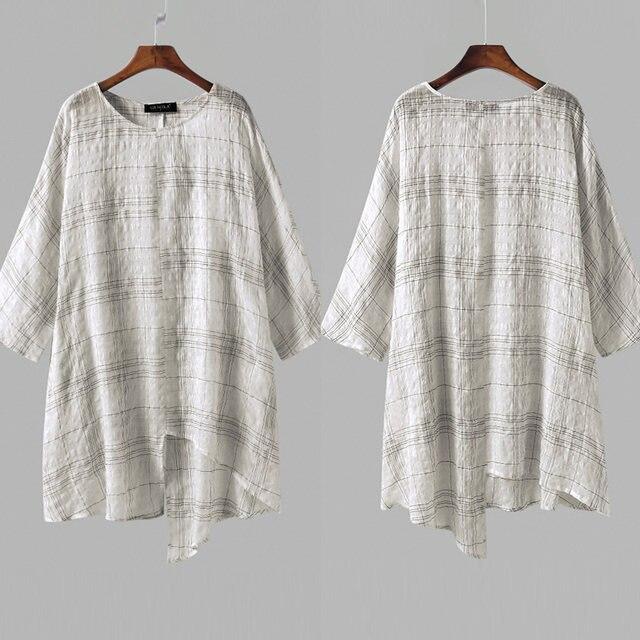 847540c9fed ZANZEA Plus Size S-5XL Women Linen Blouse Top 2018 Summer Long Sleeve Plaid  Vintage Split Baggy Blusa Femininas Oversized Shirt