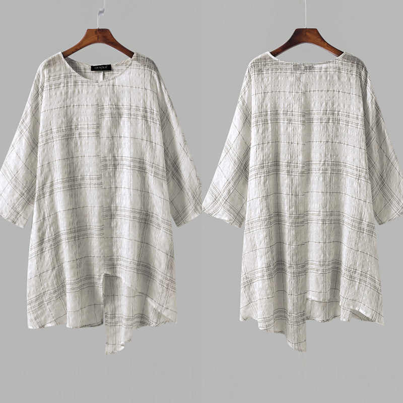 25317cd44e8ef0 ... ZANZEA Plus Size S-5XL Women Linen Blouse Top 2019 Summer Long Sleeve  Plaid Vintage ...