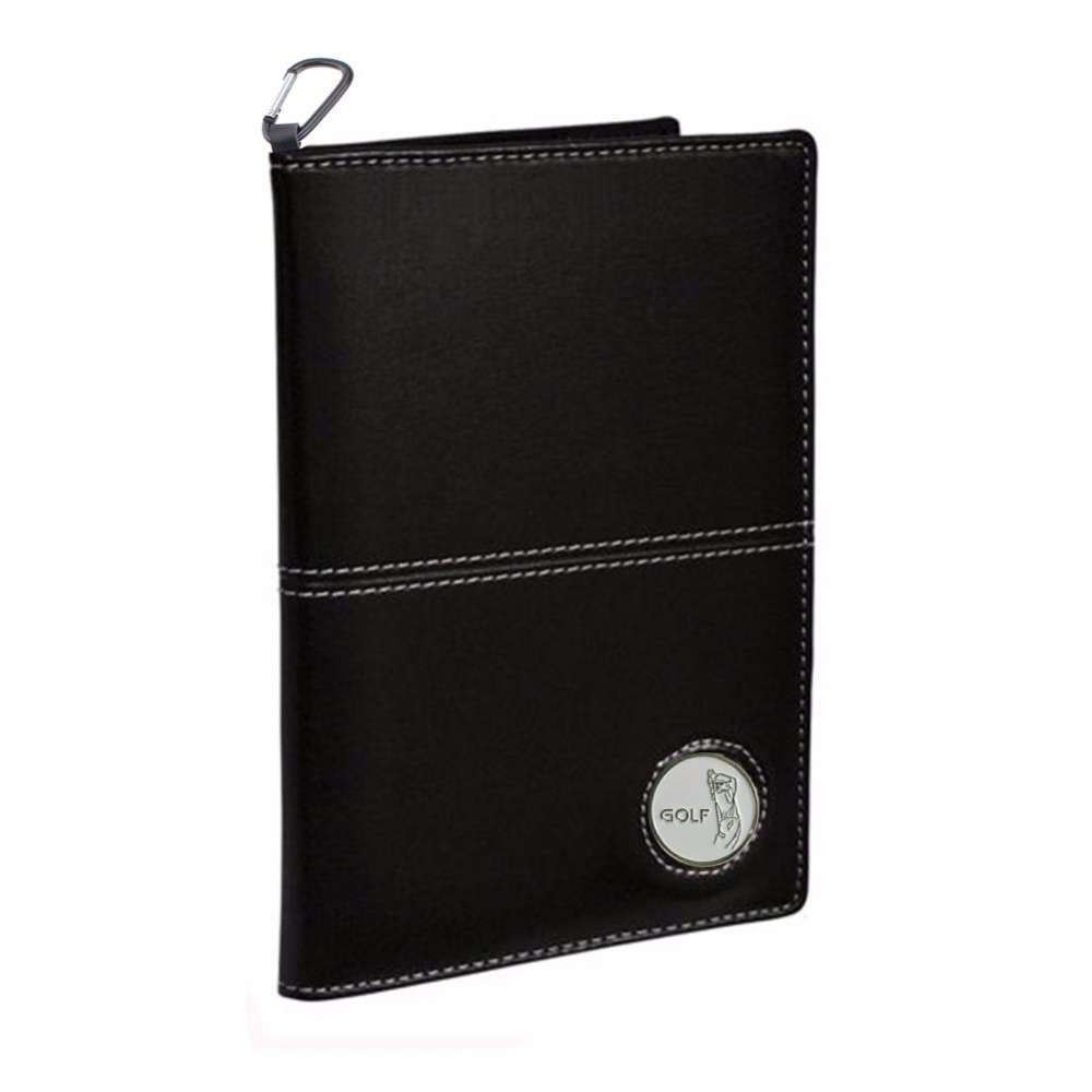 CRESTGOLF Deluxe PU Leather Golf Scorecard Cover Holder,Free Send a Ball Mark and Hook
