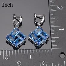 Bridal Jewelry Sets Blue Zirconia Earrings For Women Silver 925 Jewelry Wedding Bracelet Pendant Rings Necklace Set Gift Box