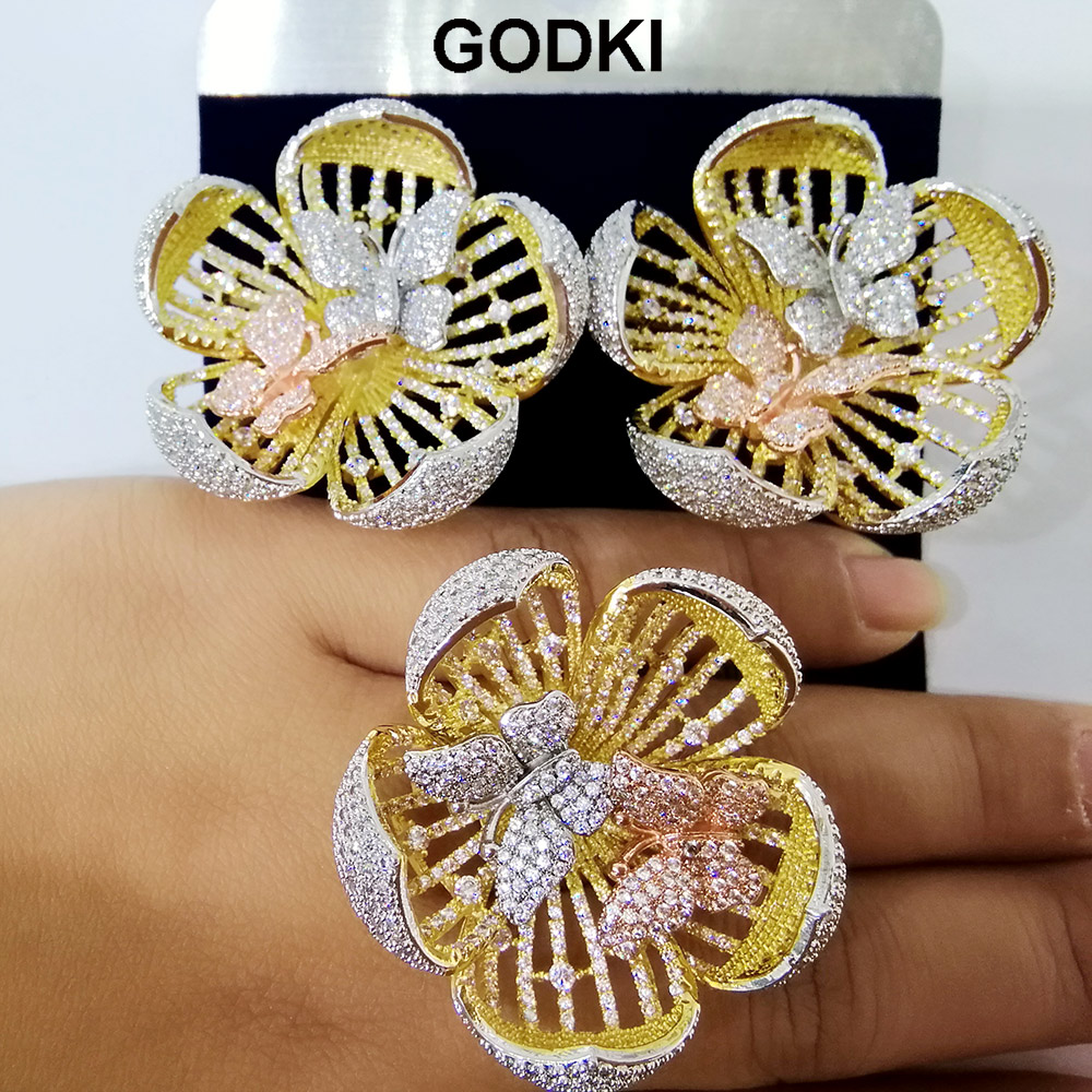 GODKI 40mm Luxury Boom Flower AAA Cubic Zirconia Brand New Engagement Resizable Ring Earring Jewelry Set