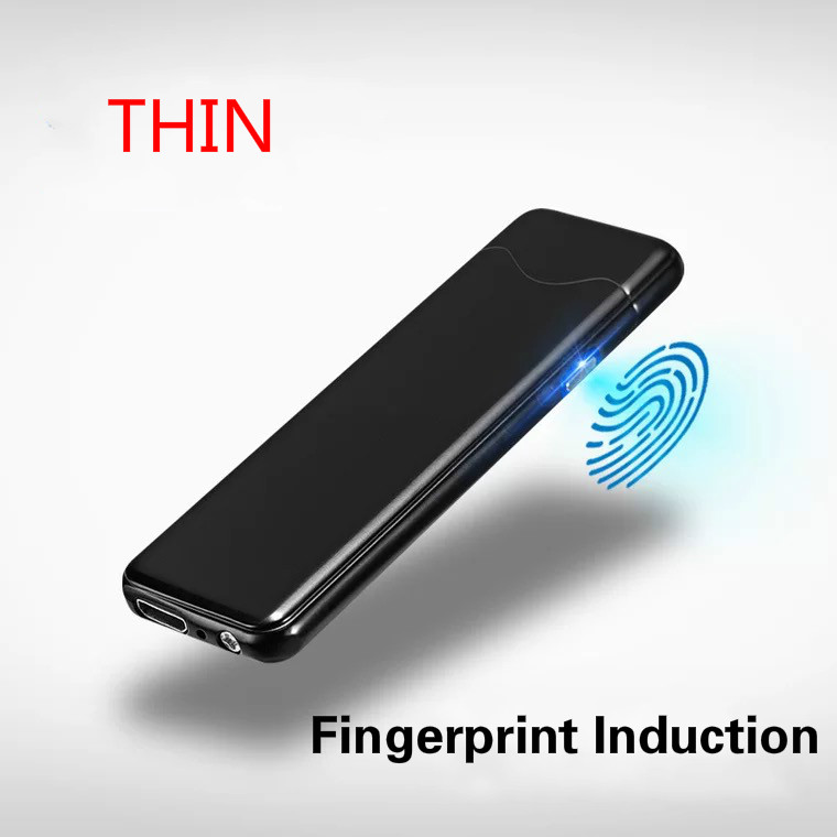 Cool Ultra-thin Fingerprint Touch Sensor Cigarette Lighters Windproof lighters Flameless electronic cigarette lighter for man