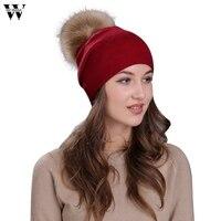 Womail Winter Hats Solid Warm High Quality Women Winter Crochet Hat Fashion Fur Wool Knit Raccoon