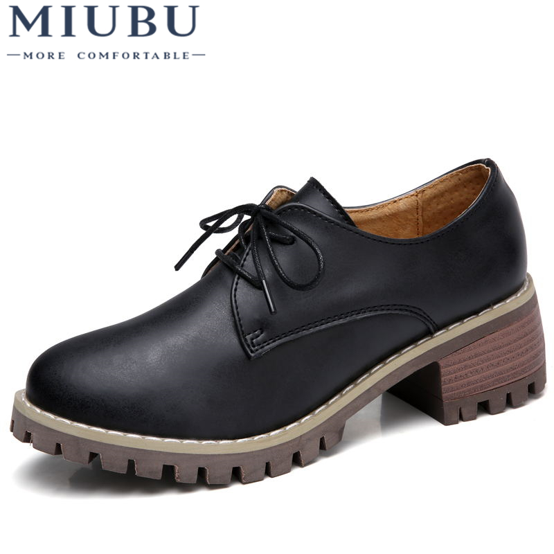 MIUBU Women Oxford Shoes Med Heel Leather Laces Round Toe Ladies Low Top Spring Shoes Women Casual Footwear 2019 New Autumn in Women 39 s Flats from Shoes
