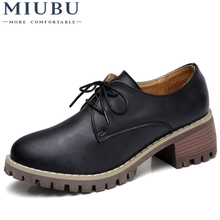 MIUBU Women Oxford Shoes Med Heel Leather Laces Round Toe Ladies Low Top Spring Shoes Women Casual Footwear 2019 New Autumn women s velvet med heel comforable mary jane pumps brand designer round toe spring new female cute footwear shoes for women sale
