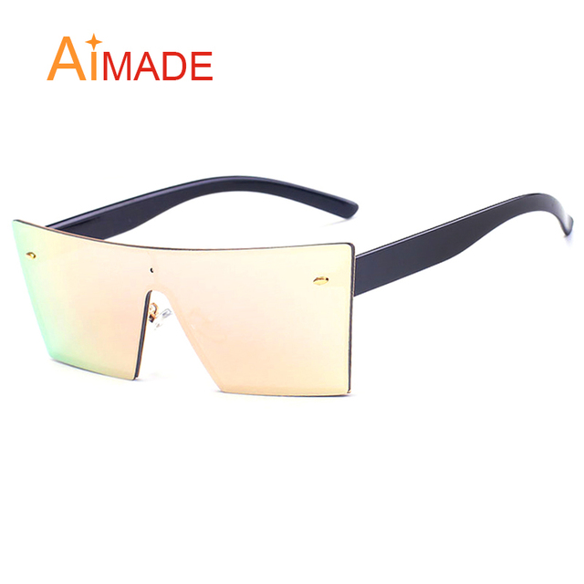 1491b159d Aimade Oversized Rimless Sunglasses Women Men Fashion Catwalk One Piece Lens  Designer Female Big Coating Mirror