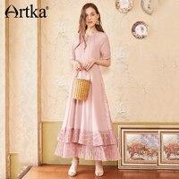 ARTKA Summer New Women Lace Stitching Slim Waist Double Hem Sexy Fashion Holiday Maxi Long Dress LA12587X