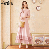 ARTKA Summer New Women Lace Stitching Slim Waist Double Hem Sexy Fashion Holiday Maxi Long Dress LA12587X