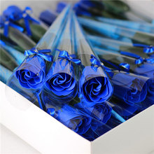 BGVfiveNew 1PC Rose Shaped Soap Decoration Flower Petals Bath Essential Oil Valentines Day Gift