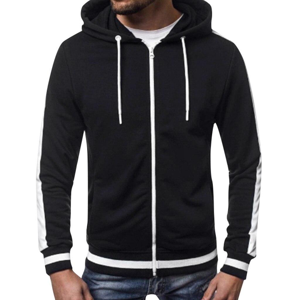 JAYCOSIN Sweatshirt Mens' Long Sleeve Hoodie Hooded Sweatshirt Patchwork Pocket Zipper Hooded Cardigan Outwear Overcoat 717