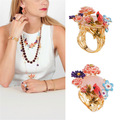 Francés famosa marca de joyería anillo ajustable anillo de cobre de múltiples flores para mujeres, mujeres regalo, joyas de compromiso de boda
