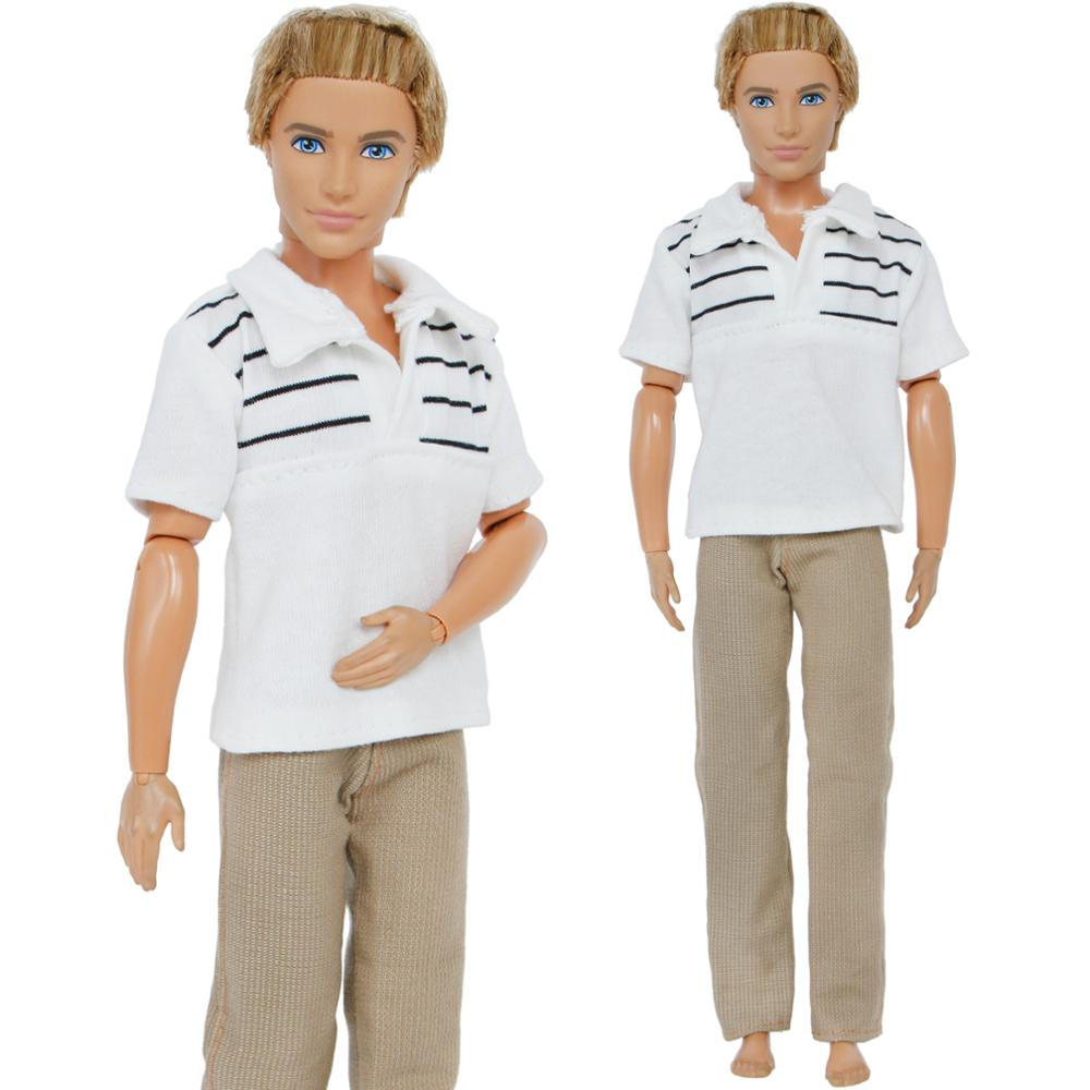 Handmade Summer Men Outfit Daily Casual Wear Striped T-shirt Trousers Accessories Clothes For Barbie Ken Doll Baby Toys