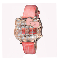 GUOU LED Wristwatches High Grade Women S Watches Genuine Leather Full Diamond Girls Watch Factory Outlet