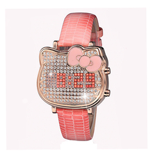 LED Wristwatches High Grade Women s Watches Genuine Leather Full Diamond Girls Watch Luxury Dress reloj