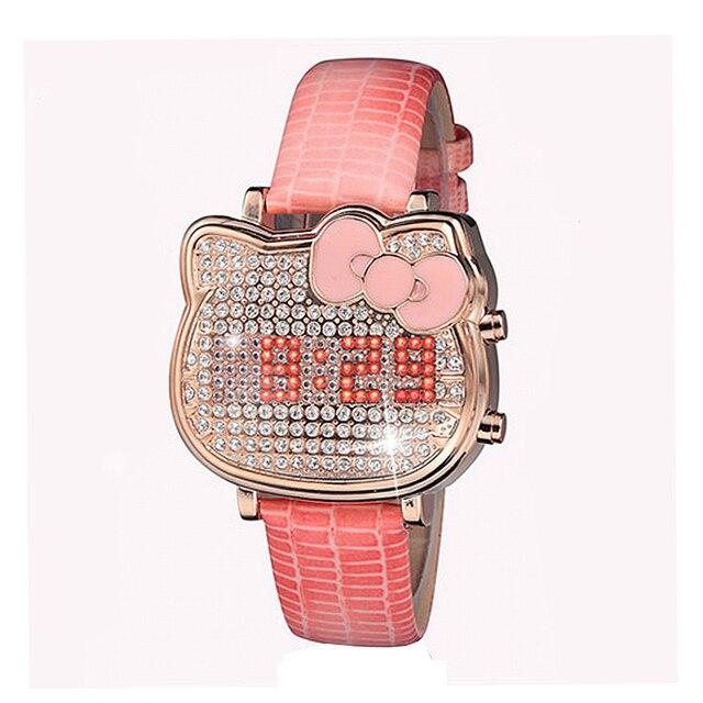 LED Наручные часы на Класс Женские часы Пояса из натуральной кожи полный алмазов Обувь для девочек часы Элитная одежда Reloj Mujer платье женские часы