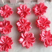 30pcs 35mm Watermelon Double Ribbon Flowers Handmade Apparel Accessories Sewing Appliques DIY Crafts A652