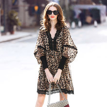 Laurence family RMOJUL 2019 new spring dress sexy leopard print v-neck lantern sleeve chiffon