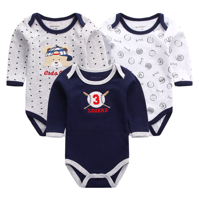e307c6367457 3pcs lot Baby Rompers Long Sleeve Cotton Baby Clothes Girl Boy Cartoon Printed  Baby Clothing Overalls for Newborns Jumpsuits