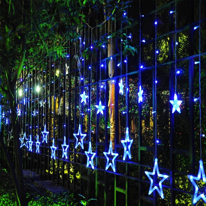 220V СИД Curtain string lights 2M 12pcs star 8 Режимдер - Мерекелік жарықтандыру - фото 3