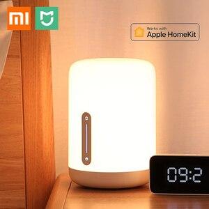 Image 1 - Xiaomi Mijia lampka nocna 2 inteligentne kolorowe światło sterowanie głosem WIFI przełącznik dotykowy Mi Home App żarówka Led dla Apple Homekit Siri