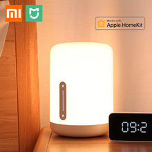 Xiaomi mijia lâmpada de cabeceira 2, luz colorida, controle de voz, interruptor touch, aplicativo mi home, lâmpada led para apple homekit siri