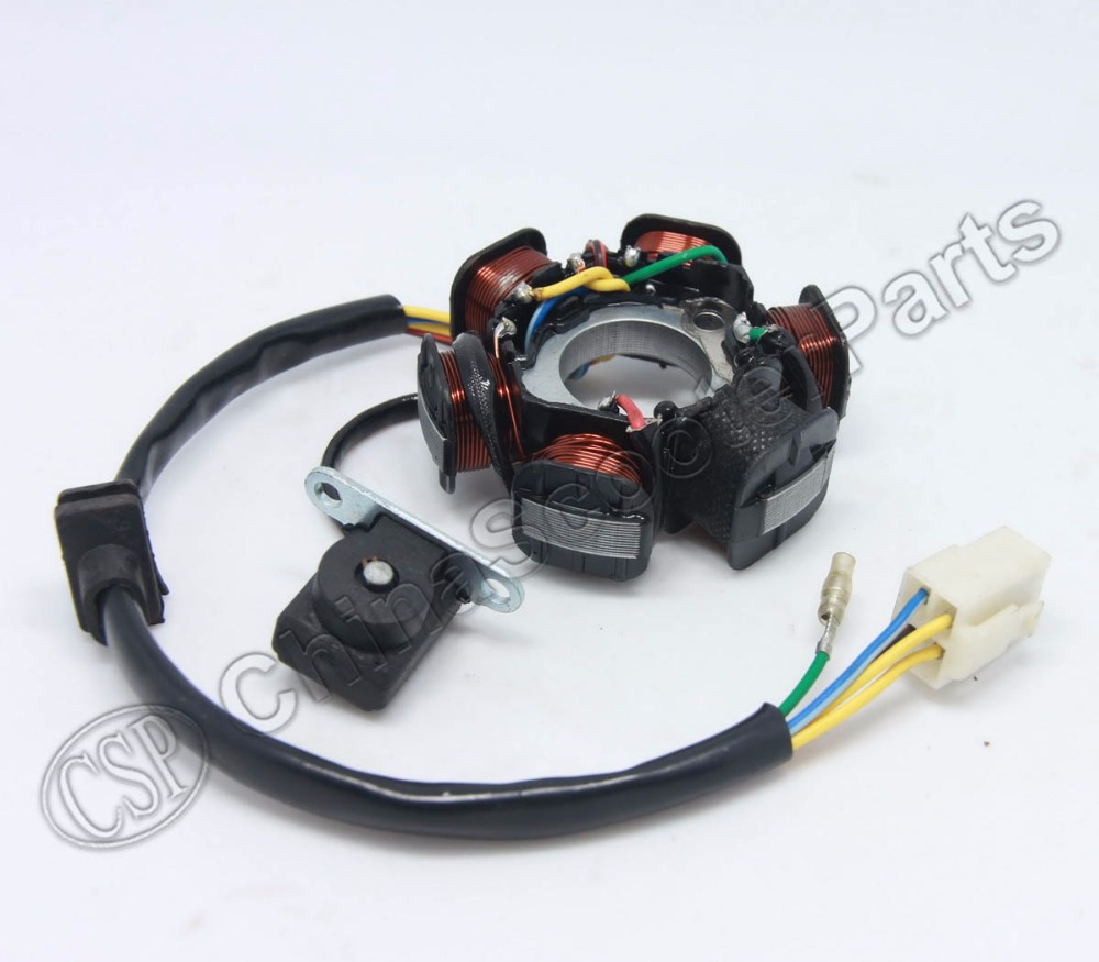 Magneto stator 6 pole coil 5 wire 50cc 70cc 90cc 110cc 125cc lifan zongshen loncin xmotos apollo dirt pit bike atv quad parts