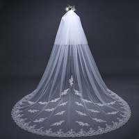 Bride Wedding Luxury Long Veil Beige Cathedral Veils Lace Edge Bridal Veil with Comb Accessories TS17125