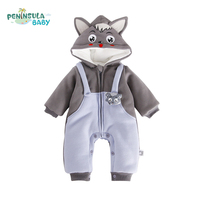 Newborn Baby Jumpsuit Warm Winter Boys And Girls Toddler Rompers Cartoon Animal Wolf Long Sleeves Overalls